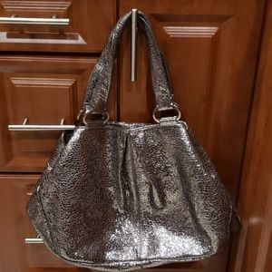 NORDSTROM'S METTALIC LEATHER Satchel tote bag XL